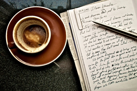 writing and coffee